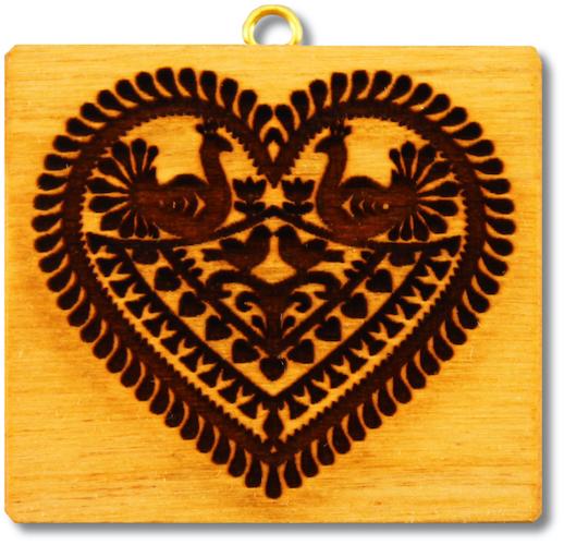 Herz Folklore Muster mit Hähnen