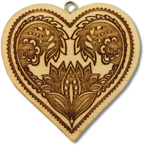 Herz, Folkloremuster mit 4 Blüten
